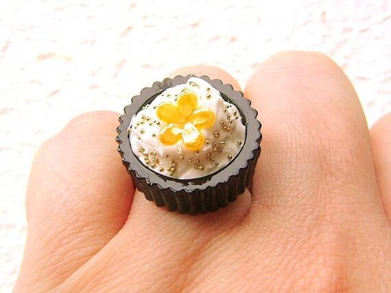 Food Ring  Chocolate Cup Vanilla Ice Cream Yellow Flower Miniature Food Jewelry SALE