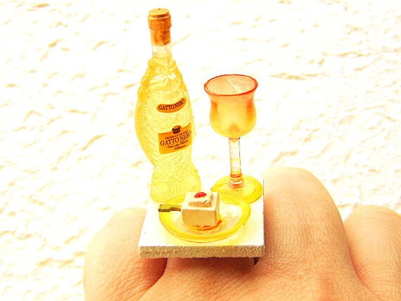 Wine  Ring Miniature Food Jewelry  Tofu Wine