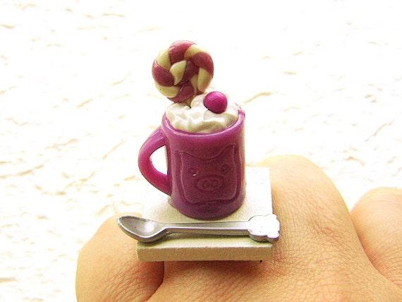 Kawaii  Ring Ice Cream Sundae  Miniature Food Jewelry