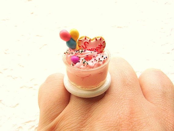 Kawaii Food Ring Strawberry Pudding  Lollipop Cookie