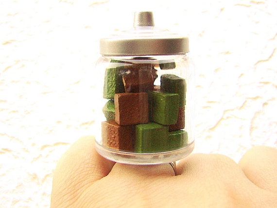 Chocolate Ring Green Tea Chocolate Miniature Food Jewelry Candy In A Jar SALE
