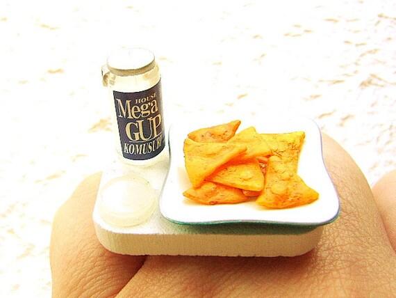 Kawaii Food Ring Sake Corn Chips Snack Miniature Food Jewelry