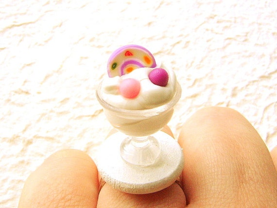 Ice Cream Ring Miniature Food Jewelry Pink Cake And Candy Gifts Under 10