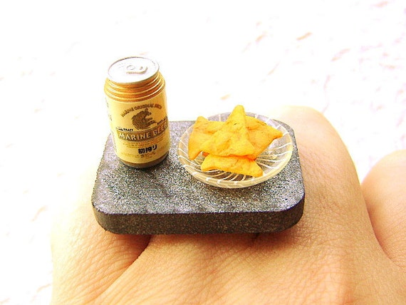 Food Ring Beer Corn Chips Miniature Food Jewelry