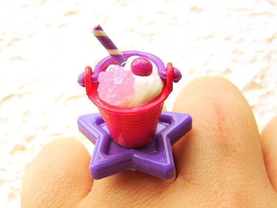 Kawaii Food Ring Ice Cream Sundae Candy Pink Purple