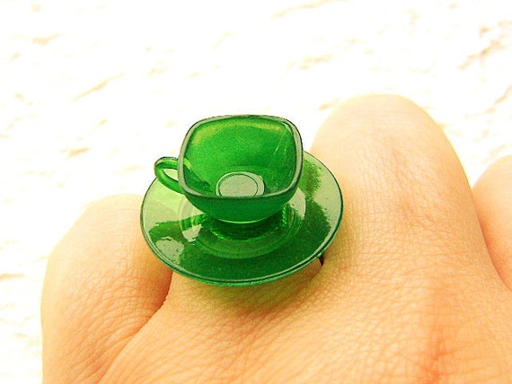 Kawaii Cute Japanese Ring Clear Green Teacup And Saucer