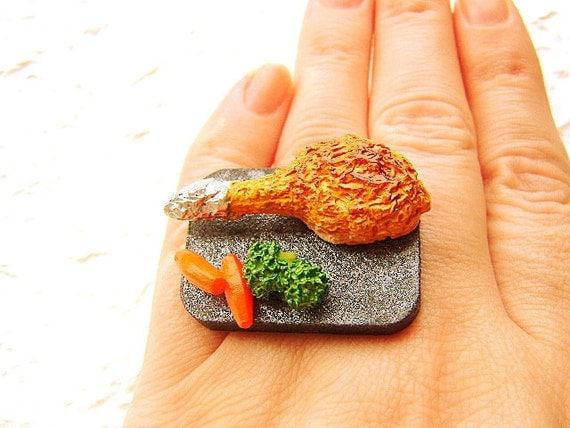Kawaii Food Ring Chicken Broccoli Carrots Dinner Ring Miniature Food Jewelry
