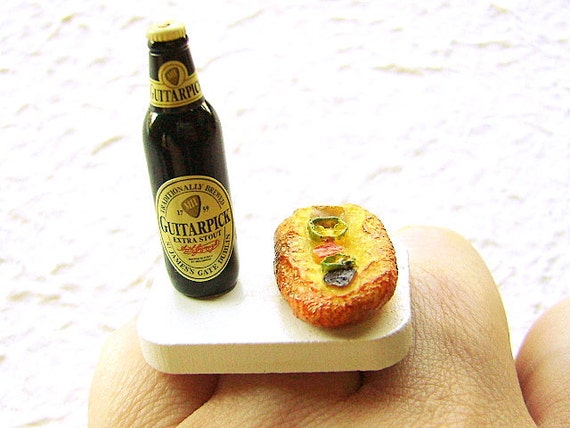 Beer Ring Miniature Food Jewely  Beer And Pizza SALE