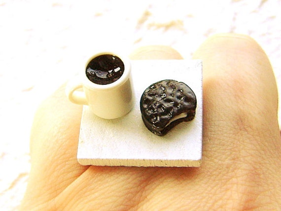 Coffee Ring  Cute Food Jewelry Ring Chocolate Cookie SALE
