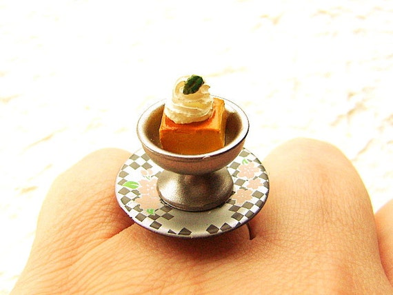 Kawaii Food Ring Cute Japanese  Custard Pudding With Whip Cream Gifts Under 10 SALE