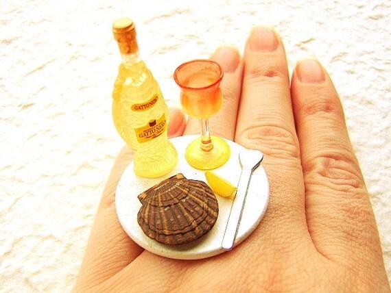 Kawaii Cute Food Ring Wine Scallop  Miniature Food Ring Jewelry