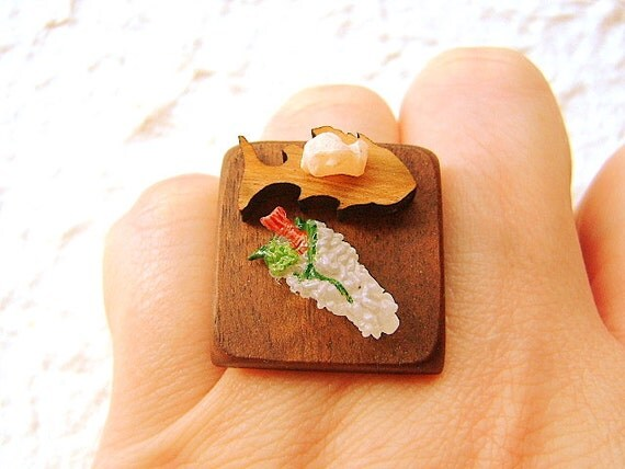 Sushi Ring Miniature  Food Jewelry Traditional Japanese Food
