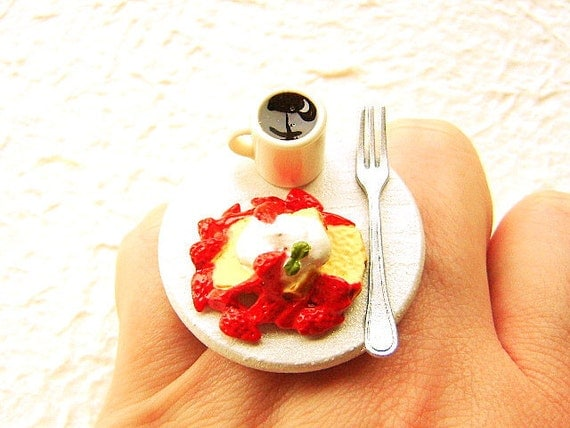 Kawaii Food Ring Coffee French Toast Miniature Food Jewelry