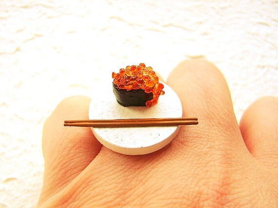 Kawaii Sushi  Ring  Tobiko Miniature Food Jewelry