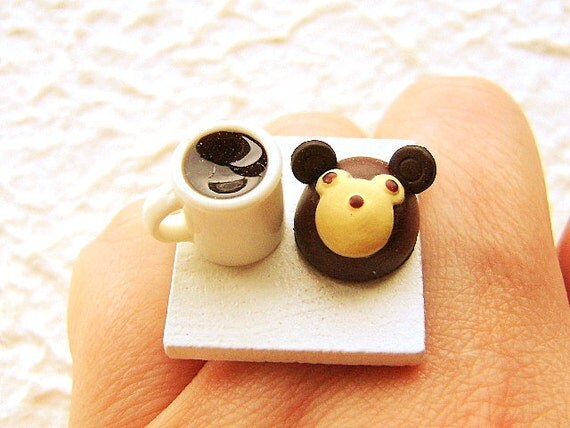Coffee Ring Kawaii Cute Food Jewelry Ring Chocolate Bear Cake SALE