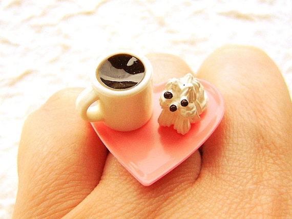 Coffee Ring Kawaii Cute Food Jewelry Ring Meringue