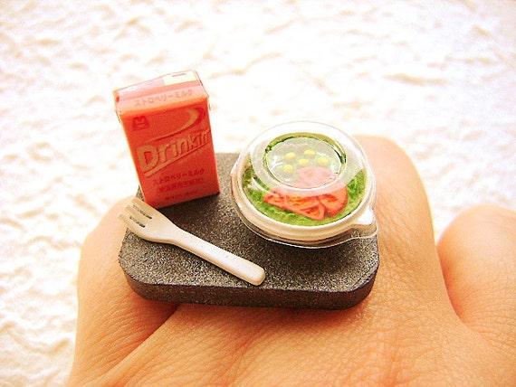 Cute Food Ring Salad Strawberry Milk Miniature Food Jewelry