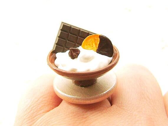 Ice Cream Ring Chocolate Orange Miniature Food Jewelry