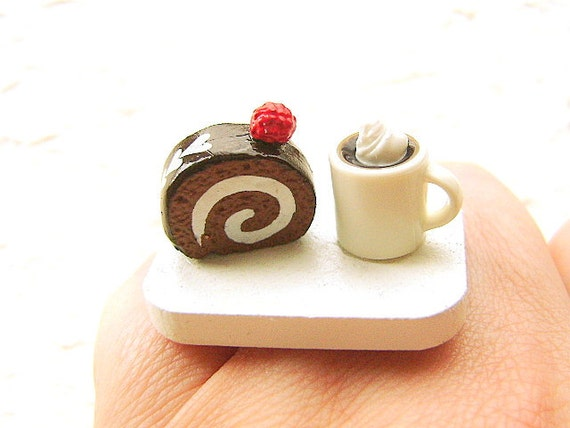 Kawaii Ring Food Coffee Chocolate  Roll Cake  Miniature Food Jewelry