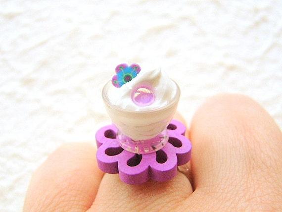 Kawaii Miniature Food Ring Ice Cream Purple  Flower