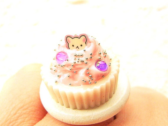 Kawaii Ice Cream Ring Miniature Food Jewelry Cute Cat