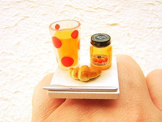 Cute Food Ring Breakfast Orange Juice Croissant Miniature Food