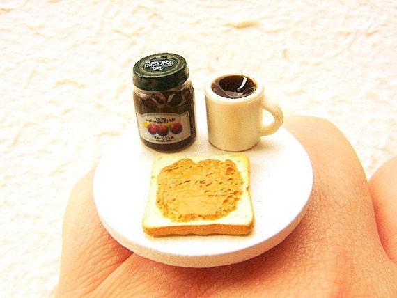 Cute Food Ring Bread Coffee Jam Miniature Food Ring Jewelry