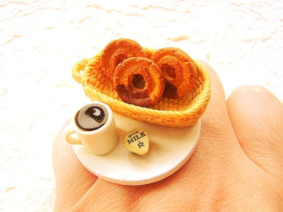 Kawaii Cute Food Ring Donut Coffee Miniature Food Ring Jewelry