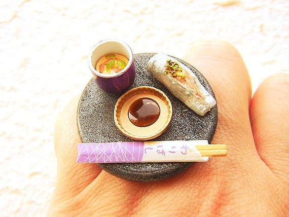 Kawaii Sushi Ring Japanese Food Jewelry