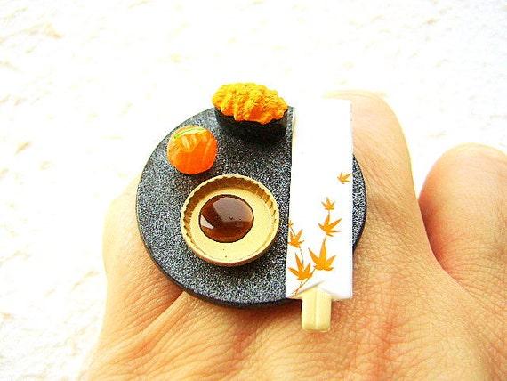 Kawaii Sushi Ring Miniature  Japanese Food Jewelry