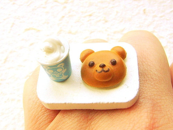 Kawaii  Ring Milkshake Bear Bread Miniature Food Jewelry