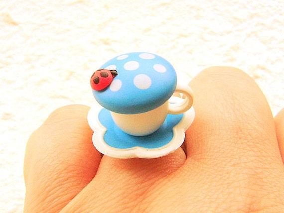 Kawaii Cute Japanese Ring  Blue White Teacup Miniature Food Jewelry