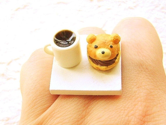 Kawaii Coffee Ring  Chocolate Bear Cream Puff   Miniature Food Jewelry