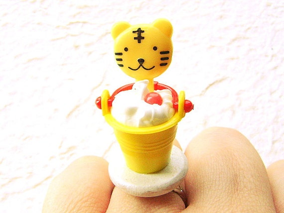 Kawaii Food Ring Ice Cream Sundae  Tiger Lollipop Miniature Food Jewelry