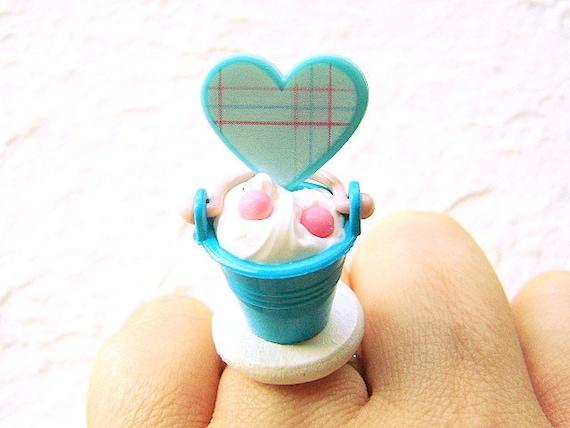 Kawaii Food Ring Ice Cream Sundae Heart Miniature  Food Jewelry SALE