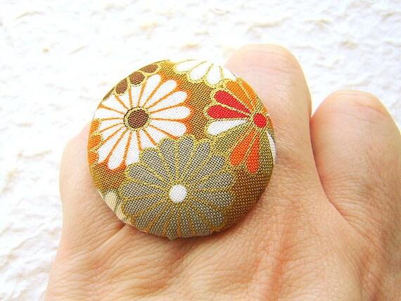Japanese Fabric Button Ring Kiku Chrysanthemums Traditional Japanese