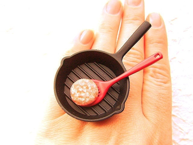 Cute Japanese Ring Cooking A Hamburger Patty By