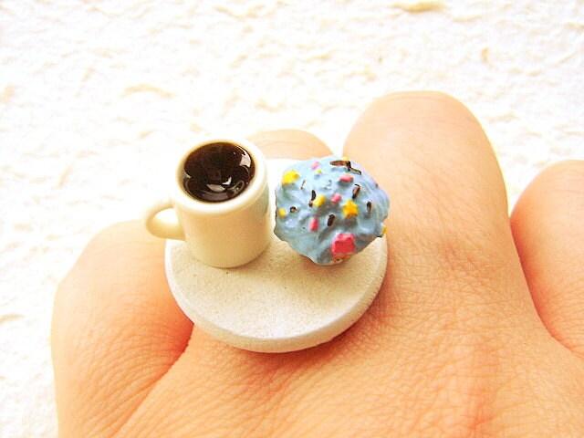 Cute Cupcake Ring Coffee Miniature Food Jewelry By