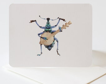Blank Greeting Card Bluegrass Beetle Insect Art