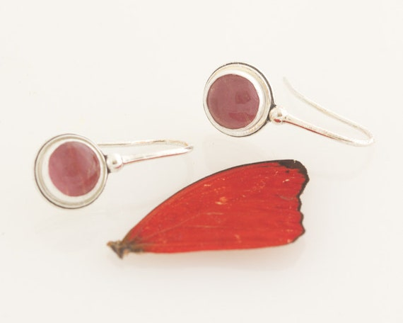 SALE - Insect Earrings Real Butterfly Wing Sangria Butterfly