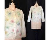 SALE Vintage 50s Spring Garden Beaded Evan Picone Sweater