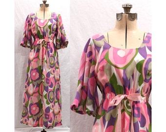 Vintage Oahu Pink Sunrise 60s Maxi Dress