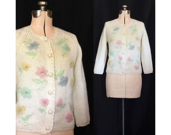 SALE Vintage 50s Spring Garden Beaded Evan Picone Sweater