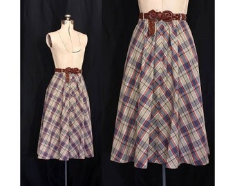 Vintage 70s Going Steady Plaid A-Line Skirt