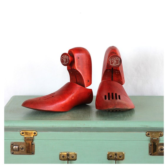 Vintage Red Wooden Shoe Form