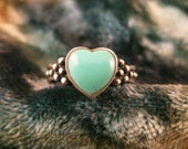 Size 7 Vintage Turquoise Heart Sterling Ring