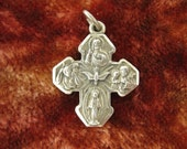Charm - Sterling Sterling - Catholic - 4 Ways Cross - Religious Charm - Signed Stamped