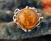 Size 7 Vintage Amber Sterling Silver Ring