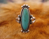 Ring - Size 8 1/2 - Sterling Silver - Turquoise Ring - Long Stone Jewelry - Southwest Style Silver - Signed Stamped 925