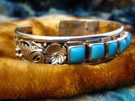 Signed RB Sterling Silver Cuff Bracelet with Turquoise